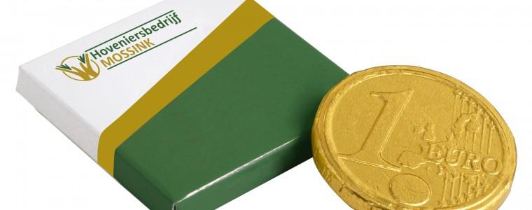 Czekoladowa moneta 1 euro w opakowaniu reklamowym, min. 500szt.