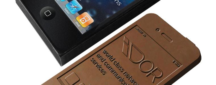 Czekoladowy smartfon z tłoczeniem, min. 200szt.