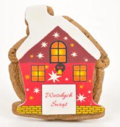 Ciasteczko miodowe/piernikowe z logo domek świąteczny, min. 50 szt.