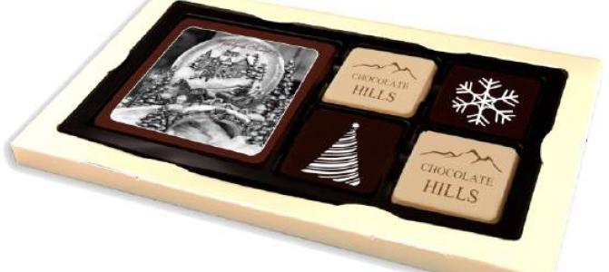 Zestaw 5 czekoladek z nadrukiem na czekoladzie w opakowaniu z okienkiem, min.100szt