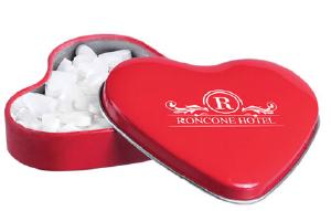 Puszka w kształcie serca z miętówkami serduszkami, min. 125szt