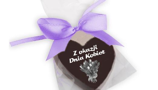 Serduszko czekoladowe z nadrukiem ze wstążeczką, min. 100szt