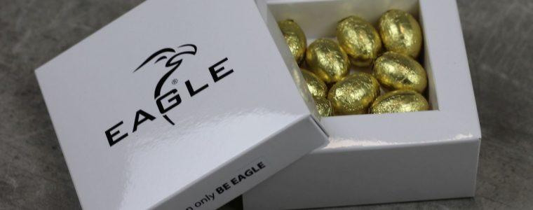Drukowana bombonierka z 9 złotymi jajeczkami wielkanocnymi, min. 50szt.