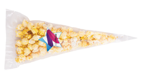 Popcorn w rożku z nalepką reklamową, min.  250szt.