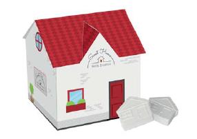 Domek reklamowy z miętówkami domkami, min.250szt.